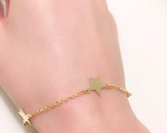 Star Bracelet. Gold silver bracelet with charms. Gold Star Bracelet. Jewel stars. Star Pendant. Gift Girl