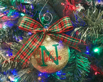 Glitter Ornaments, Custom Ornaments, Vinyl Ornaments, Personalized Ornaments, Christmas Gift, Personalized Gifts, Monogram Ornament