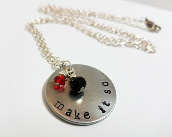 Star Trek Necklace Make it So Jewelry Federation Captain Picard Hand Stamped Metal