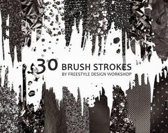 Black Brush Strokes Clipart/ Black Foil Brush Strokes/ Black Glitter Brush Strokes/ Bokeh Brush Stroke/ Metallic Transparent PNG