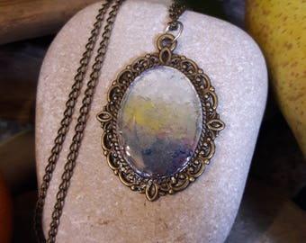 Necklace, bronze-coloured metal base, resin cabochon, hand painted