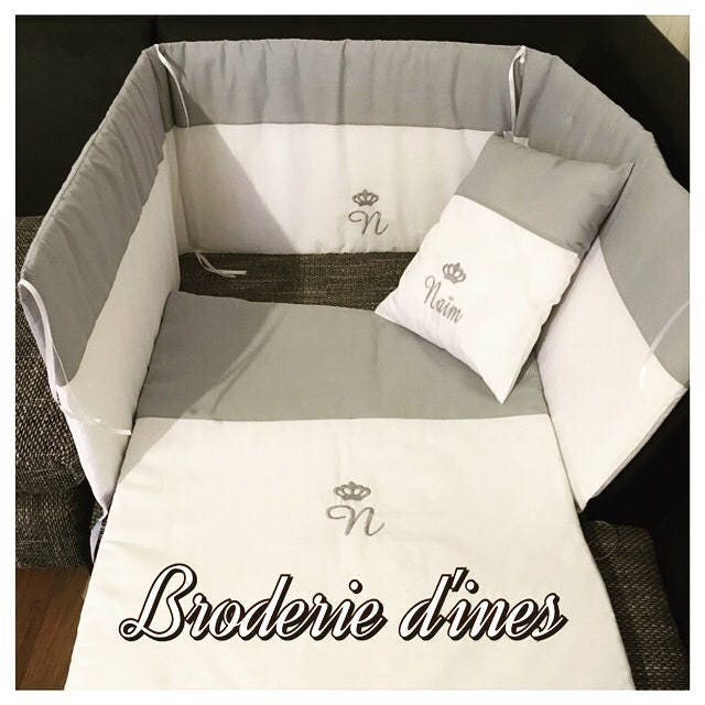 Ensemble parure de lit de bebe personnalisé