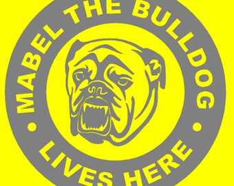 Personalised Bulldog Wall/Window Sticker with Free Postage