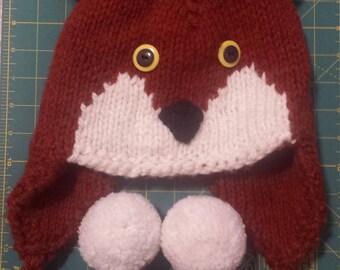 Hand knit fox hat