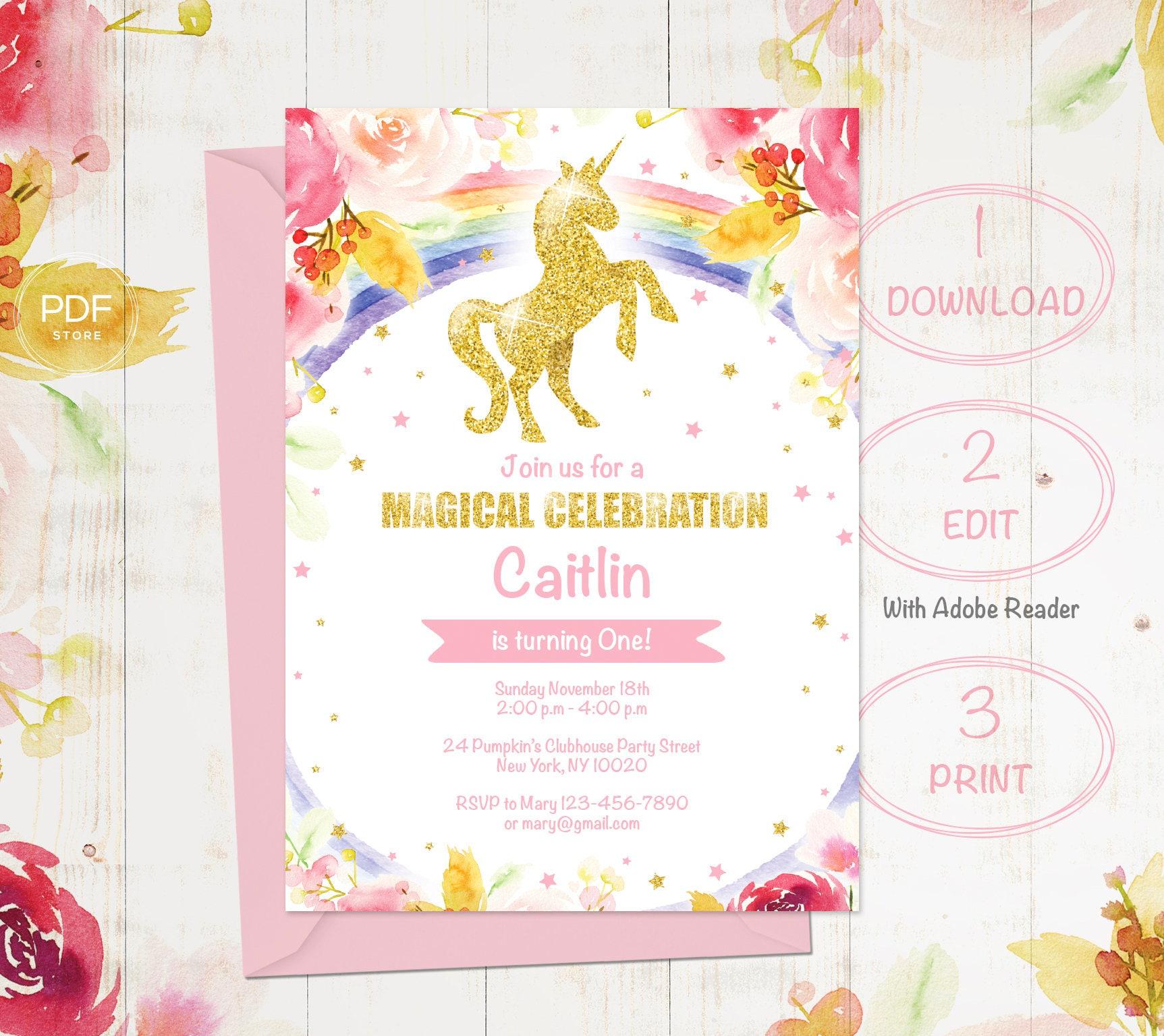 Unicorn Birthday Invitation, Magical Unicorn invitation, Floral ...