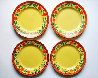 Rare EGERSUND Fajancefabriks Vintage Set of Four Plates Hand Painted Folk Art Pottery Ceramic Norway 1920-1953