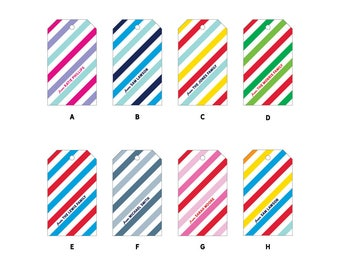 24 Stripe Personalized + Custom Gift Tags with String, 2x3.5