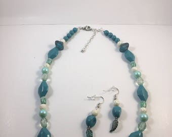 Turquoise and white multi-shape necklace and earring set