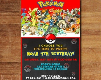 Pokemon Birthday Invitations, Pokemon Invitation, Pokemon Party, Pokemon Birthday Decorations, Pokemon Party Invitation, Pokemon Invites