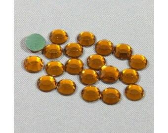 Fusible orange 3mm rhinestones