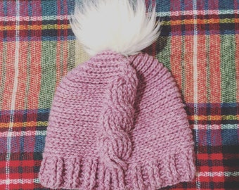 Handmade, Crochet, Winter Hat, Beanie, Cable Stitch, Lavender, White, Faux Fur Pom Pom, FREE SHIPPING