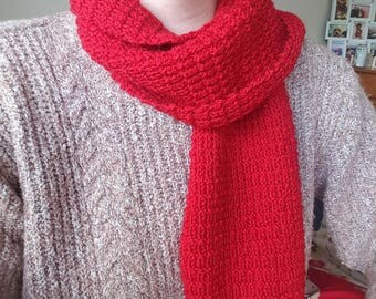 Handknitted Textured Fisherman's Rib Scarf and Hat Set in Red