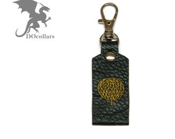 Personalized leather keyring with text or picture on both sides