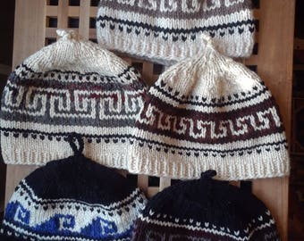 Mens cowichan style northwest knitted hats