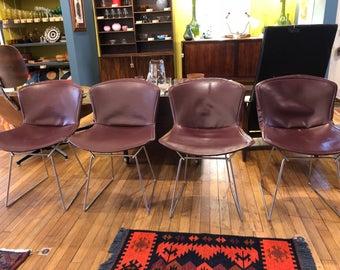 Chaises de fil Bertoia originales par Knoll avec couvertures originales
