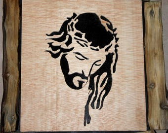 Portrait of Jesus wood carved frame, with wood