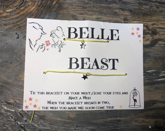 Beauty & the Beast wish bracelet.Disney wish bracelet.Friendship wish bracelet.His and her bracelet.Hes my beast