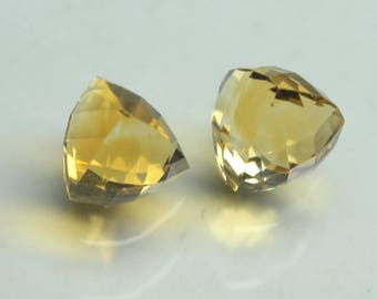9 Carat AAA Natural Citrine Faceted Fancy Trillion Checker Cut with Nice cutting 2 PCs  Size- 9x10x9 MM Approx Citrine Trillion