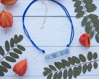 Cornflower Necklace - Floral Resin Necklace - Free Shipping - Ready to ship