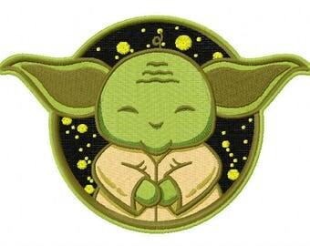Cute Yoda machine embroidery design