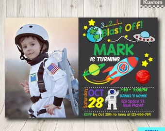 Outer Space Invitation Boy, Solar System Invitation, Solar System Birthday Party Invitation, Planet Invitation, Outer Space Invite