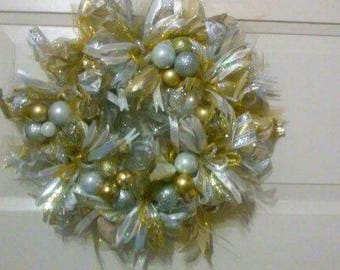 Silver and Gold Deco Mesh Christmas Wreath
