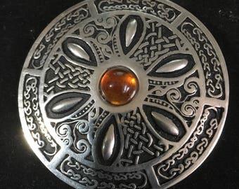 Marvelous Vintage St Justines Celtic Pewter Brooch Amber Coloured Centre Cabachon  Signed St Justines