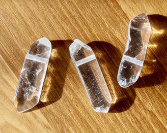 Raw Quartz Crystal pendant, rugged quartz crystal pendant, raw cut, drilled pendant, quartz crystal rock pendant, P0023