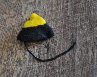 Vintage Barbie Clothes - Yellow and Black Felt Hat