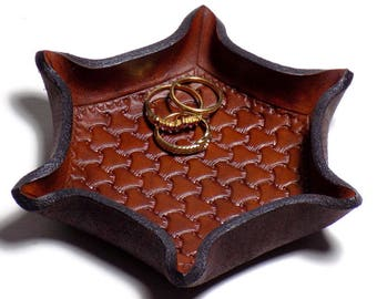 Hexagon Leather Tray, Vanity Jewelry Organizer Ring Dish, Tooled Brown Woven Shallow Catchall, 6 Sides, Third Anniversary Gift, Valet Tray