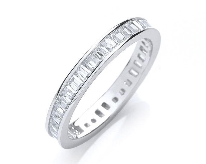 Sterling Silver Channel Set Full Eternity Baguette Cut Cz Ring Hallmarked