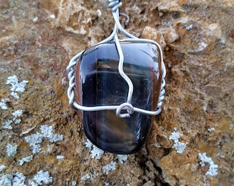 Blue Tiger's Eye wire wrapped necklace