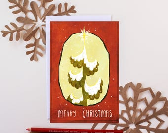 "Christmas Tree Holiday Card, 5"" by 7"" inches"