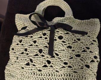 Vintage crochet market tote