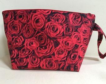 Knitting Project Bag, Sock Bag, Project Bag, Small Knitting Project Bag, Zipper Bag, WIP Bag, Valentine Project Bag, Red Rose Project Bag