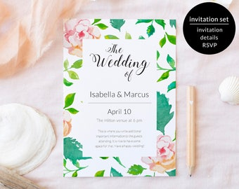 Wedding Invitation Set, Wedding Invite Set Template, Wedding Invitation Suite, Wedding Invite Printable, Floral Wedding Suite Download