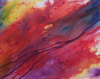 Nature's energy art, original abstract, watercolour and acrylic painting,  Rainbow Spirit.
