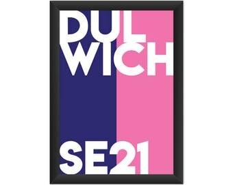Dulwich Typography SE21 - Giclée Art Print - South London Poster