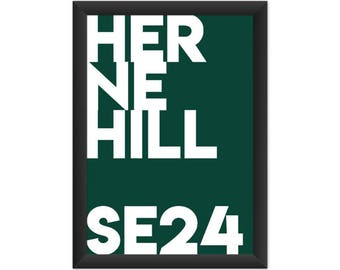 Herne Hill Typography SE24 - Giclée Art Print - South London Poster