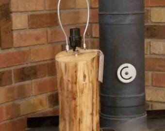Rustic log lamp