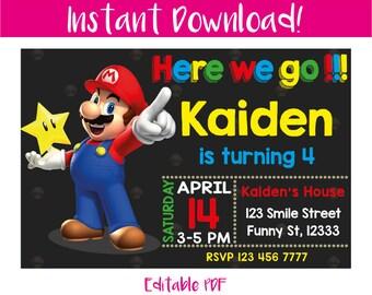 Mario Bros Invitation, Mario Bros Birthday Invitation, Mario Bros Birthday, Mario Bros Party, Mario Bros Printable, Mario, Instant Download