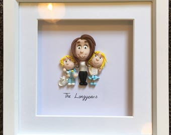 Polymer clay fimo family portrait