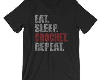 Eat Sleep Crochet Repeat Funny Retro T-Shirt