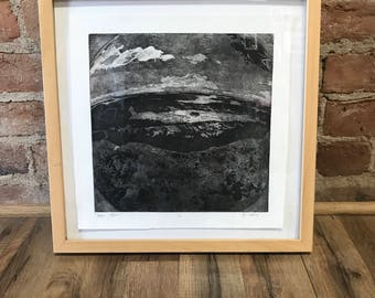 "Intaglio ""Begin Again"" print, printmaking, ink, archival, hand printed, fish eye, works on paper, canson edition, black, washington view"