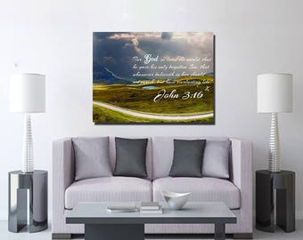John 3:16 #9 KJV 'For God so Loved the World' Scripture Christian Wall Art, Bible Verse Canvas, Christian Canvas, Bible Verse Wall Art
