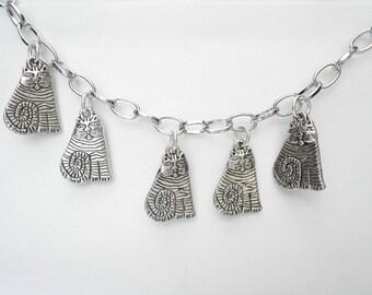 Charm bracelet adjustable silver five cats
