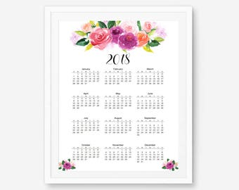 Yearly calendar, 2018 yearly calendar, 2018 Wall Calendar, yearly planner, watercolor calendar, floral calendar, large calendar, 12 month