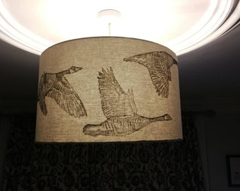 Geese in Flight- A linoprinted hand made lampshade