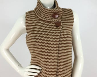 1970s sweater vest, 70s brown and beige sweater