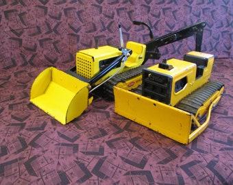 Tonka T6 Bulldozer And Front End Loader Backhoe Both Pressed Steel 70s Era Construction Toys Display Restoration Or Use
